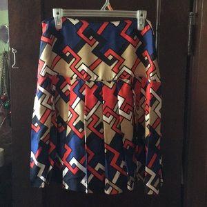 silk skirt Aline pleated Ann Taylor  size 10